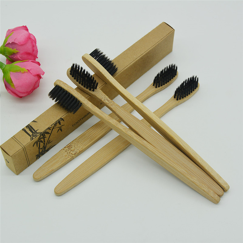 Bamboo wooden Toothbrush 1-Infused with Charcoal